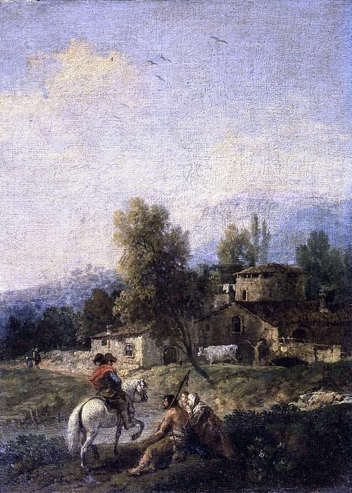 Пейзаж с деревней, рыцарь и нищие. Франческо Зуккарелли