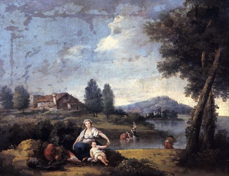 Речной пейзаж с прачками и рыбаком. Франческо Зуккарелли