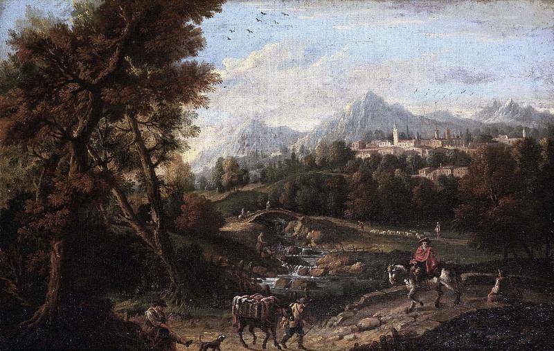 Пейзаж с мулами и возницей. Франческо Зуккарелли
