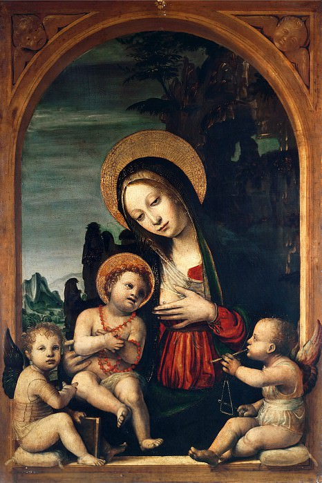 Madonna and Child with Two Angels. Bernardo Zenale