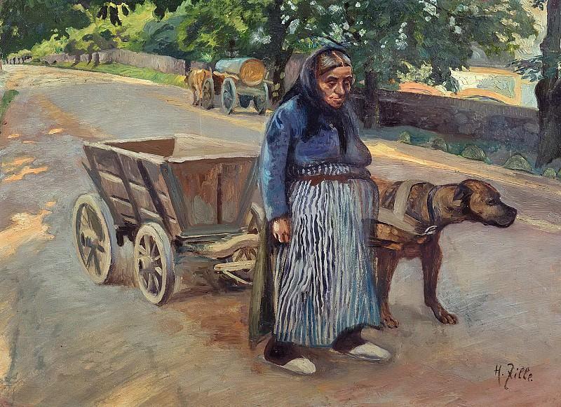 Старушка с собакой, запряженной в тележку. Генрих Цилле