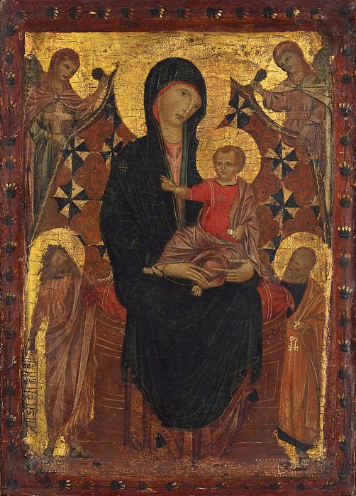 Attributed to Cimabue - Madonna and Child with Saint John the Baptist and Saint Peter. National Gallery of Art (Washington) (Attributed)