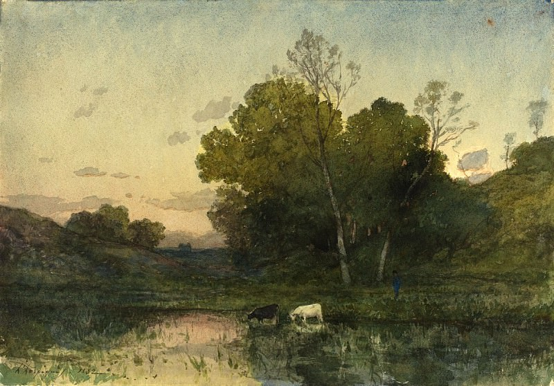 Henri-Joseph Harpignies - Evening Light on a Wooded Lakeside with Cattle Drinking. National Gallery of Art (Washington)