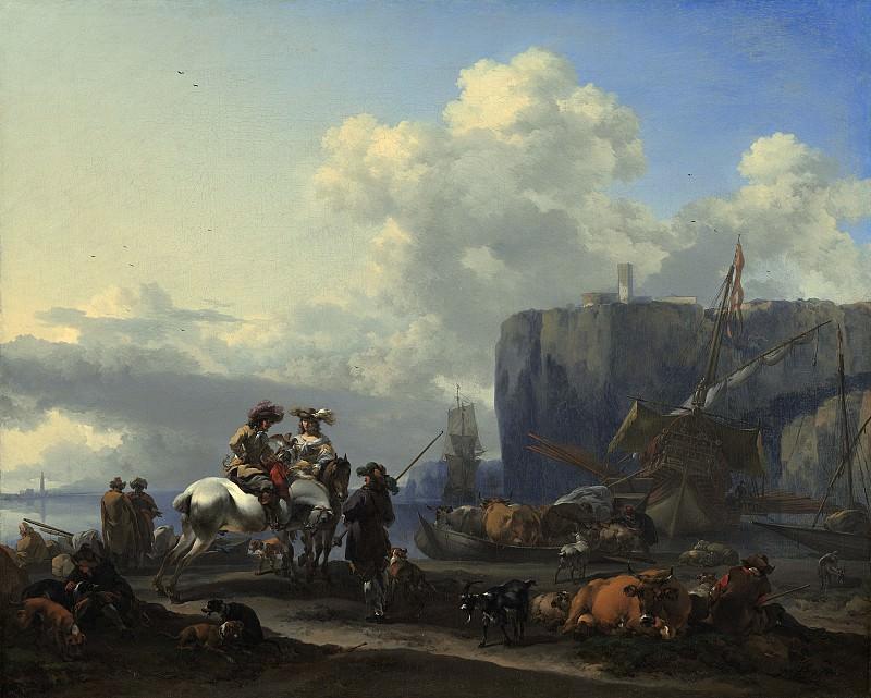 Берхем, Николас Питерс - Итальянский портовый пейзаж. Национальная галерея искусств (Вашингтон)