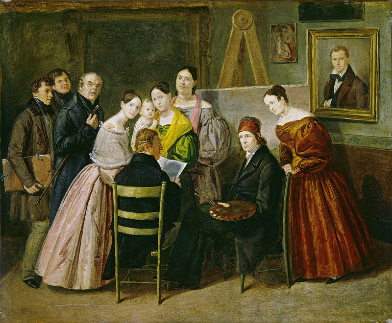 Unknown 19th Century - A Painter and Visitors in a Studio. National Gallery of Art (Washington)