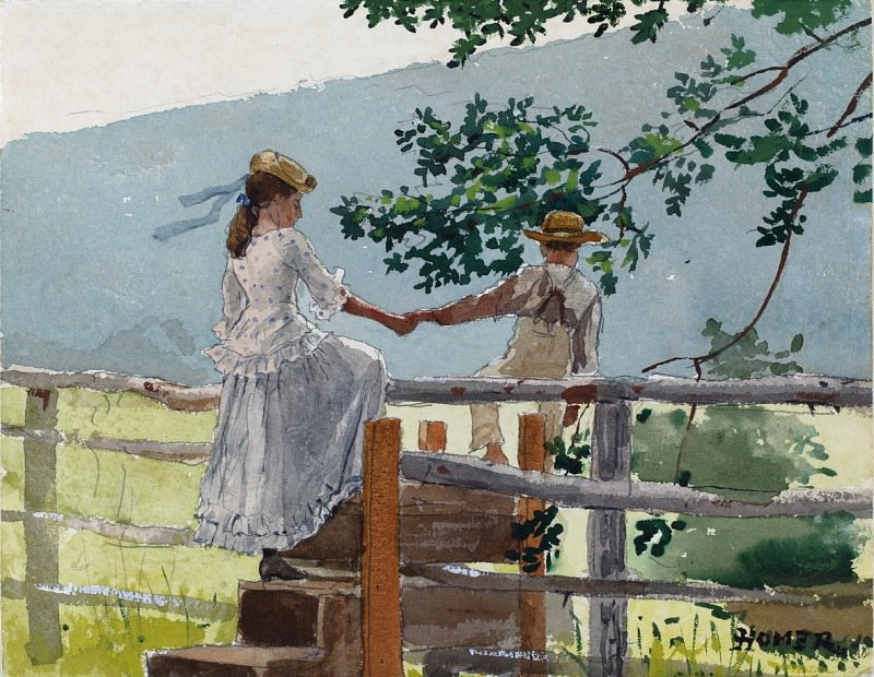 Winslow Homer - On the Stile. National Gallery of Art (Washington)