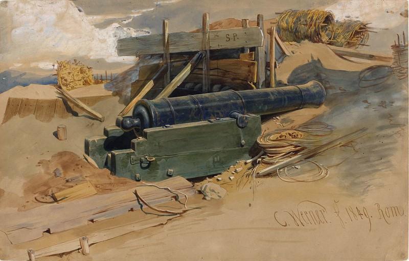 Вернер, Карл Фридрих Генрих - Пушка у земляного вала. Национальная галерея искусств (Вашингтон)