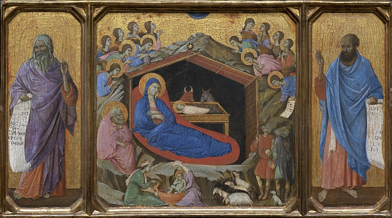 Duccio di Buoninsegna - The Nativity with the Prophets Isaiah and Ezekiel. National Gallery of Art (Washington)