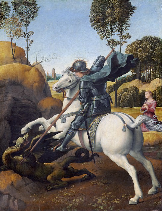 Saint George and the Dragon. Raffaello Sanzio da Urbino) Raphael (Raffaello Santi