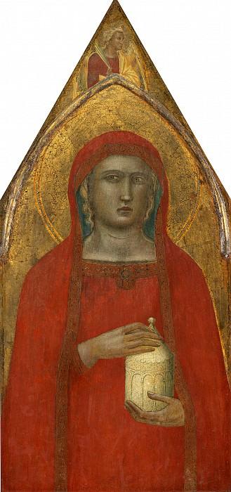 Pietro Lorenzetti - Madonna and Child with Saint Mary Magdalene and Saint Catherine. National Gallery of Art (Washington) (left panel)