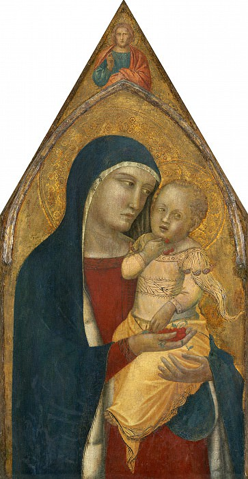Pietro Lorenzetti - Madonna and Child with Saint Mary Magdalene and Saint Catherine. National Gallery of Art (Washington) (middle panel)