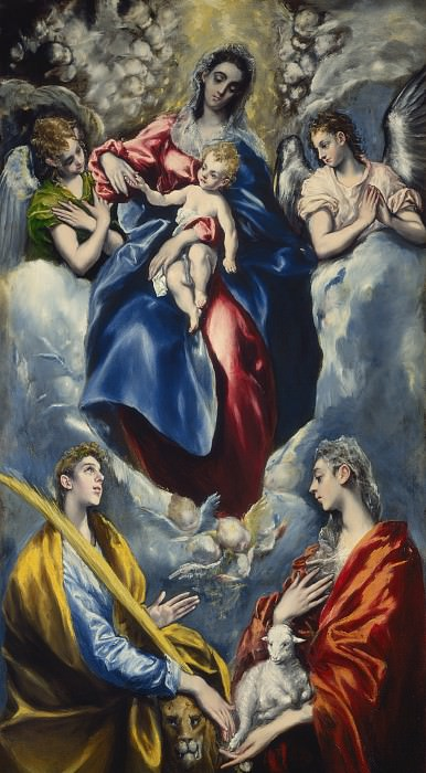 El Greco (Domenikos Theotokopoulos) - Madonna and Child with Saint Martina and Saint Agnes. National Gallery of Art (Washington)