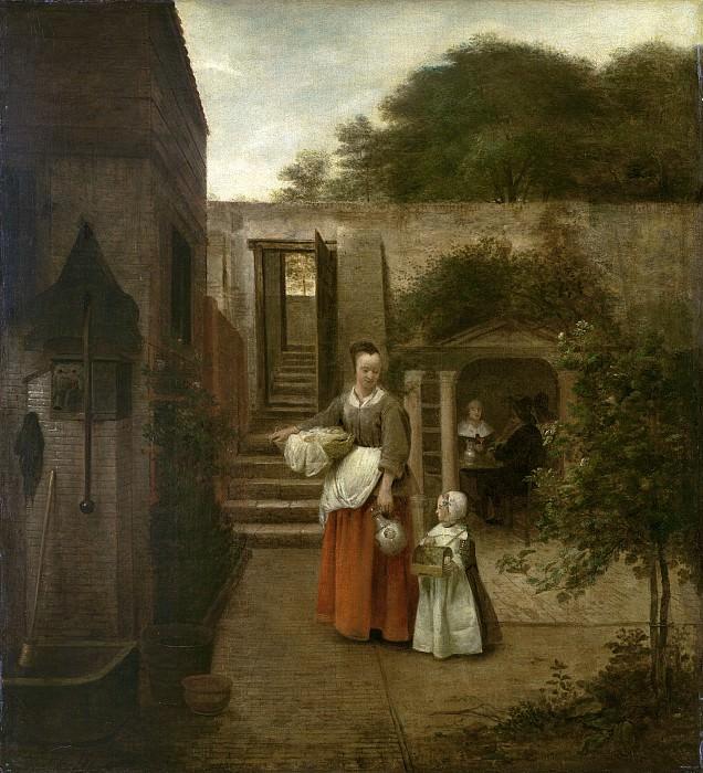 Хох, Питер де - Женщина и дети во дворе. Национальная галерея искусств (Вашингтон)
