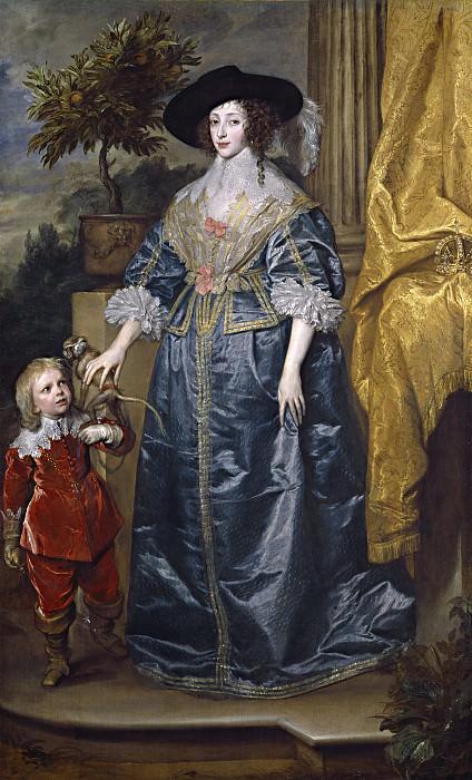 Sir Anthony van Dyck - Queen Henrietta Maria with Sir Jeffrey Hudson. National Gallery of Art (Washington)