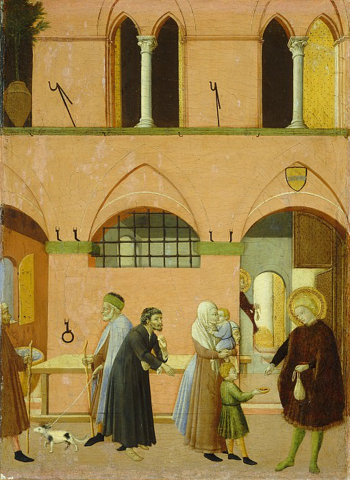 Master of the Osservanza (Sano di Pietro?) - Saint Anthony Distributing His Wealth to the Poor. National Gallery of Art (Washington)