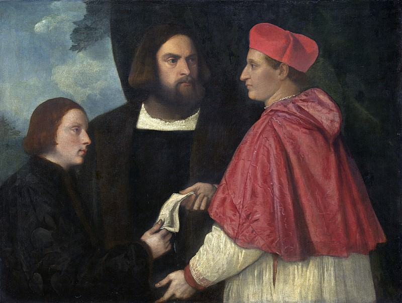 Titian and Workshop - Girolamo and Cardinal Marco Corner Investing Marco, Abbot of Carrara, with His Benefice. National Gallery of Art (Washington)