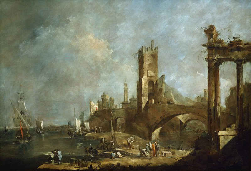 Francesco Guardi - Capriccio of a Harbor. National Gallery of Art (Washington)
