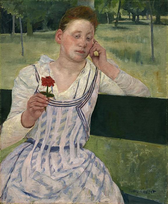 Кэссет, Мэри - Женщина с красной циннией. Национальная галерея искусств (Вашингтон)