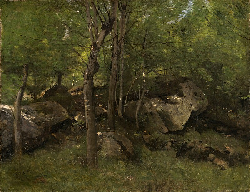 Jean-Baptiste-Camille Corot - Rocks in the Forest of Fontainebleau. National Gallery of Art (Washington)