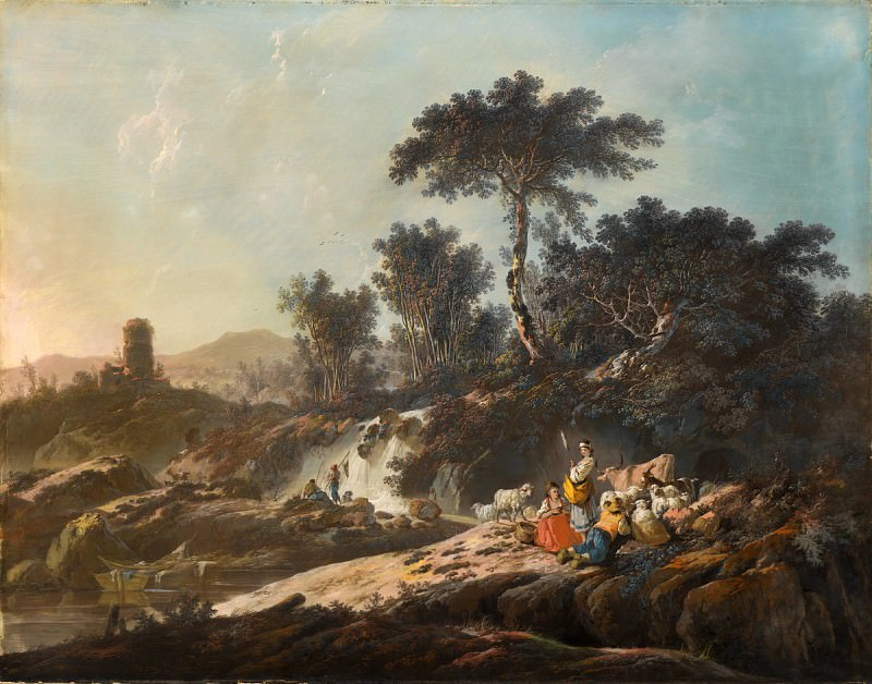 Jean-Baptiste Pillement - Shepherds Resting by a Stream. National Gallery of Art (Washington)