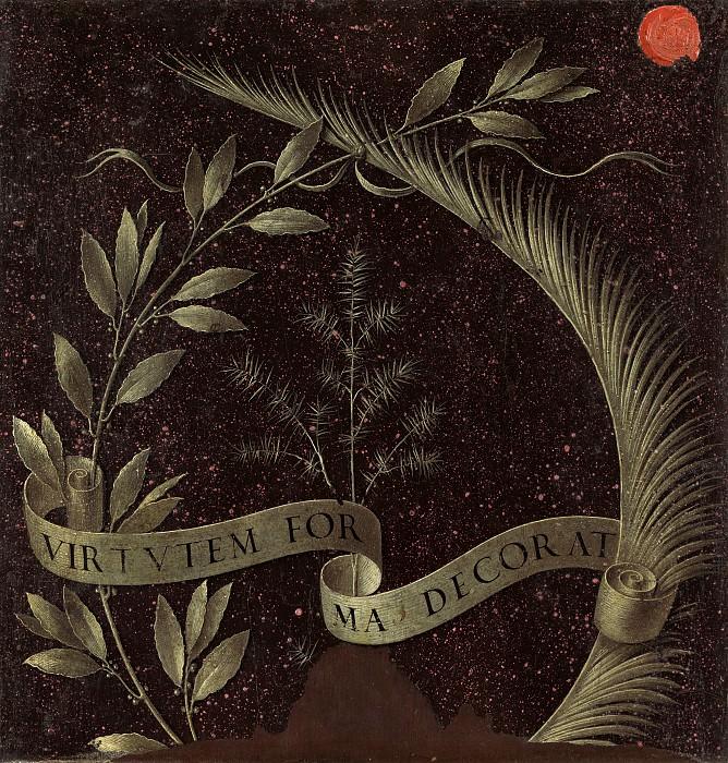 Leonardo da Vinci - Wreath of Laurel, Palm, and Juniper with a Scroll inscribed Virtutem Forum Decorat. National Gallery of Art (Washington) (reverse)
