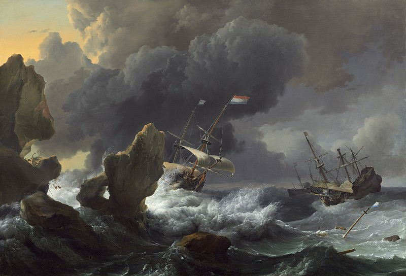 Ludolf Backhuysen - Ships in Distress off a Rocky Coast. National Gallery of Art (Washington)
