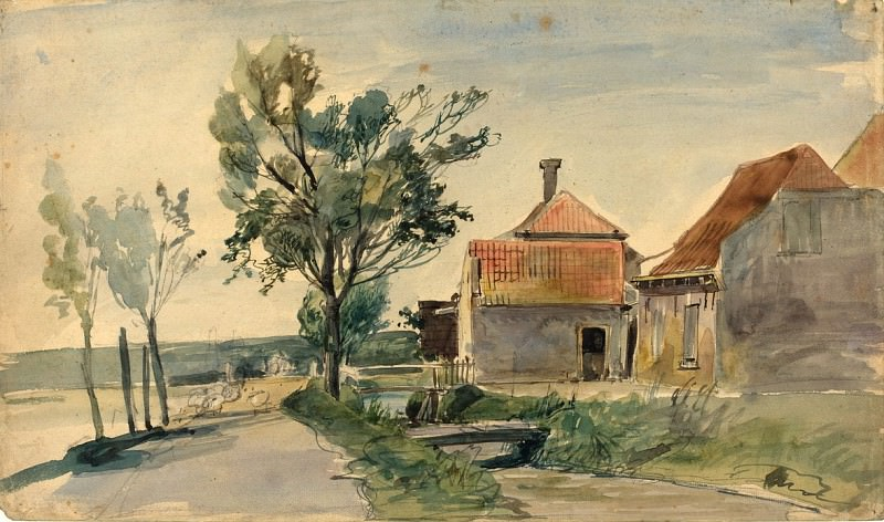 Johan Barthold Jongkind - A Stream Running between Houses and a Road. National Gallery of Art (Washington)