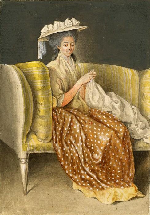 Ходовецки, Даниэль - Портрет женщины за вышиванием. Национальная галерея искусств (Вашингтон)