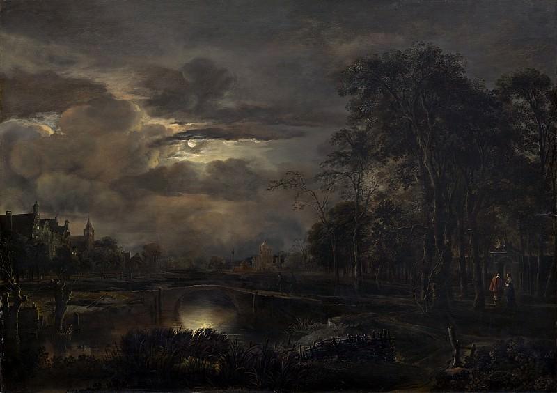 Aert van der Neer - Moonlit Landscape with Bridge. National Gallery of Art (Washington)