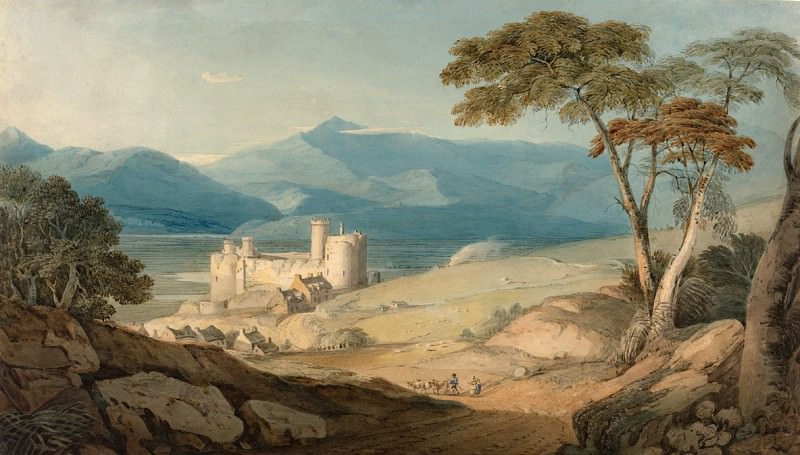 John Varley - Harlech Castle and Snowdon. National Gallery of Art (Washington)