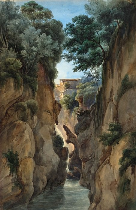 Attributed to Achille-Etna Michallon - View of a Waterfall through a Ravine. National Gallery of Art (Washington)