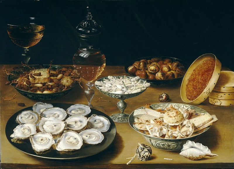 Osias Beert the Elder - Dishes with Oysters, Fruit, and Wine. National Gallery of Art (Washington)