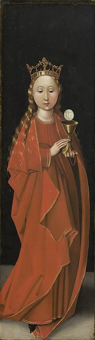 Master of the Starck Triptych - Saint Barbara. National Gallery of Art (Washington) (left wing exterior)