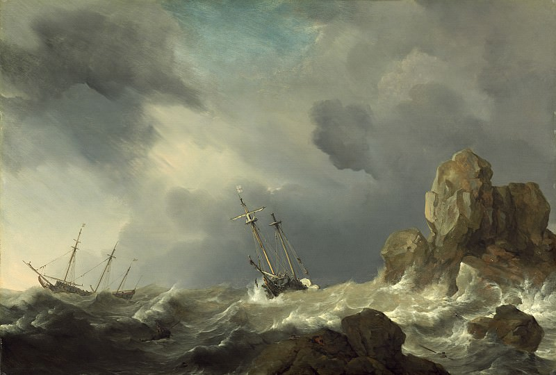 Willem van de Velde the Younger - Ships in a Gale. National Gallery of Art (Washington)