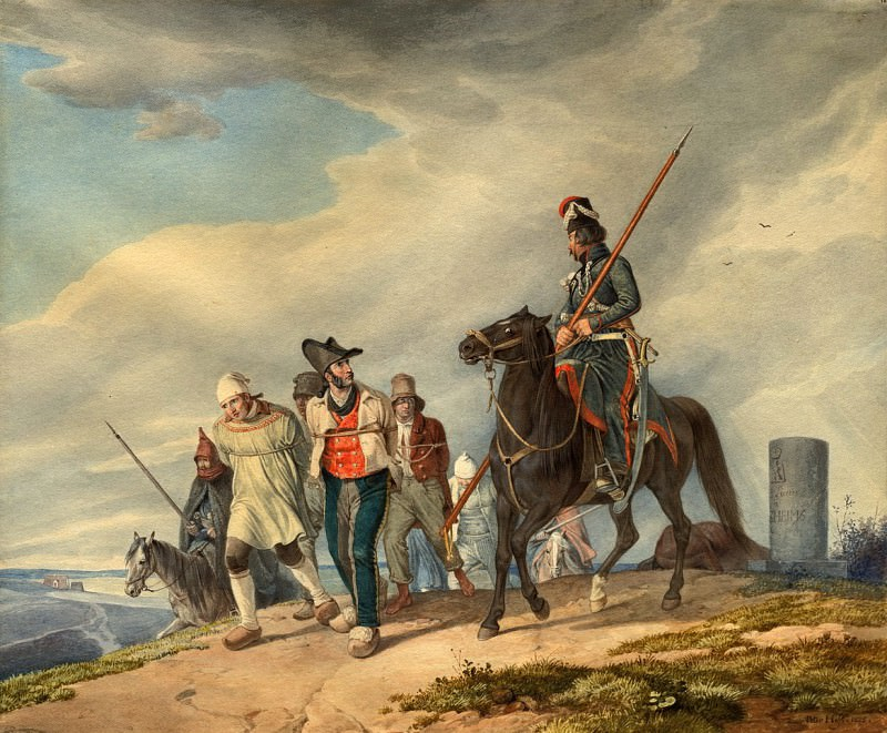 Гесс, Петер фон - Три вооруженных всадника сопровождают заключенных близ Реймса. Национальная галерея искусств (Вашингтон)