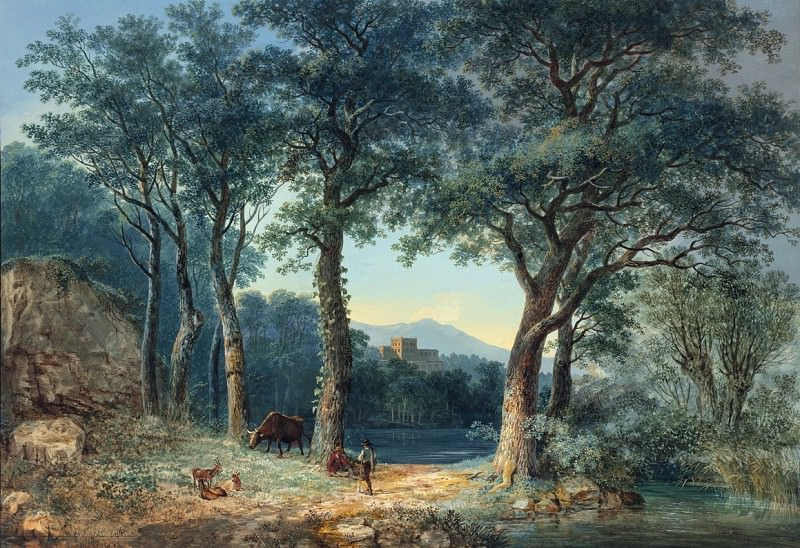 Ludwig Hess - A Wooded Lakeside with an Italianate Villa. National Gallery of Art (Washington)