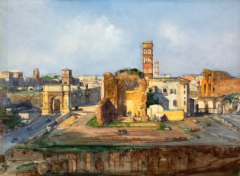 Ippolito Caffi - The Arch of Titus and the Temple of Venus and Rome near the Roman Forum. National Gallery of Art (Washington)