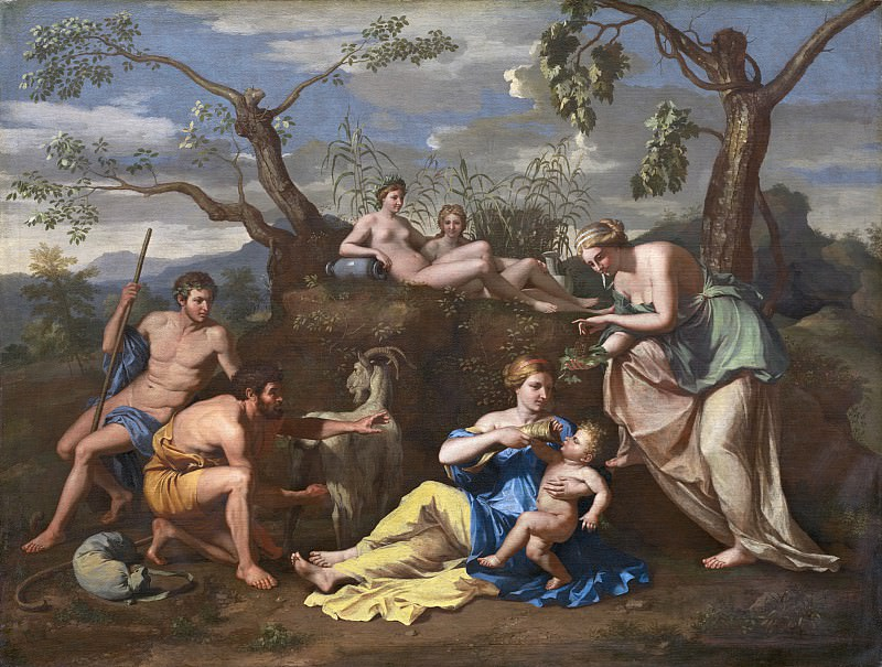Follower of Nicolas Poussin - Nymphs Feeding the Child Jupiter. National Gallery of Art (Washington)