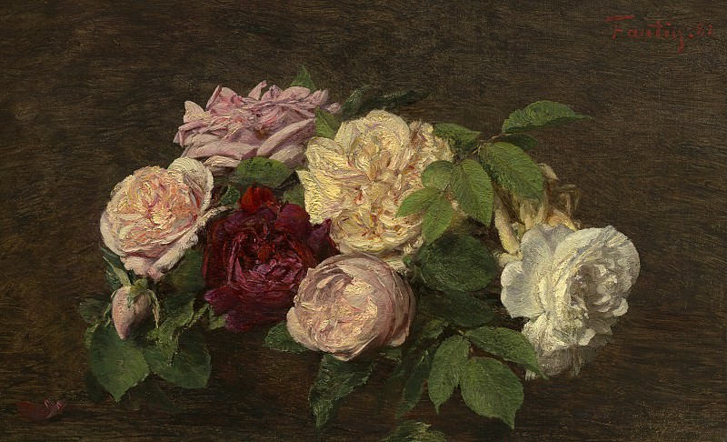 Henri Fantin-Latour - Roses de Nice on a Table. National Gallery of Art (Washington)