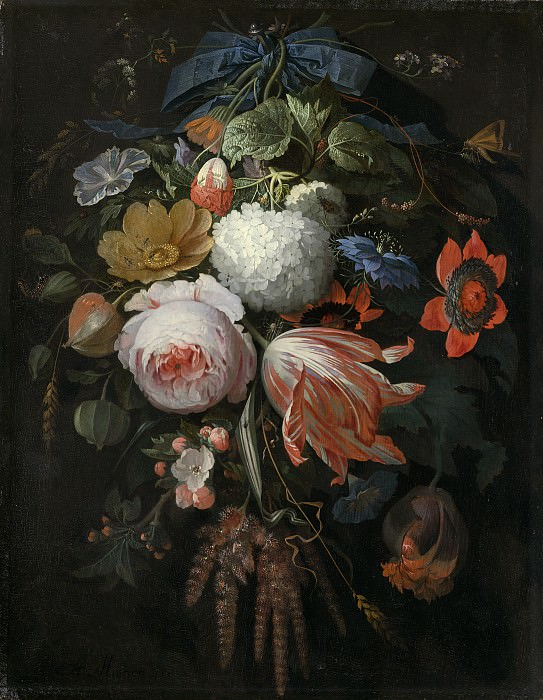 Abraham Mignon - A Hanging Bouquet of Flowers. National Gallery of Art (Washington)
