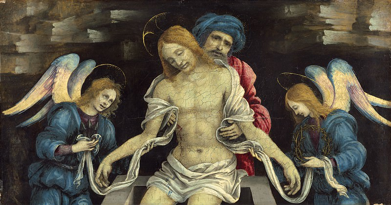 Filippino Lippi - Pieta (The Dead Christ Mourned by Nicodemus and Two Angels). National Gallery of Art (Washington)