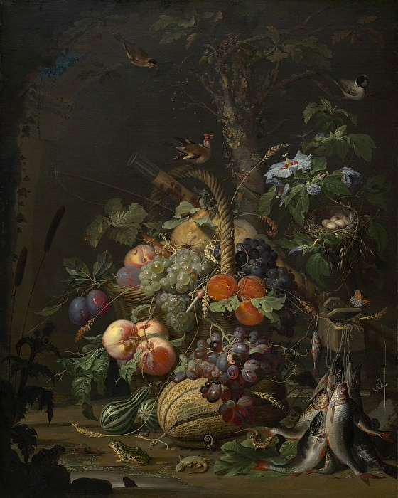 Abraham Mignon - Still Life with Fruit, Fish, and a Nest. National Gallery of Art (Washington)
