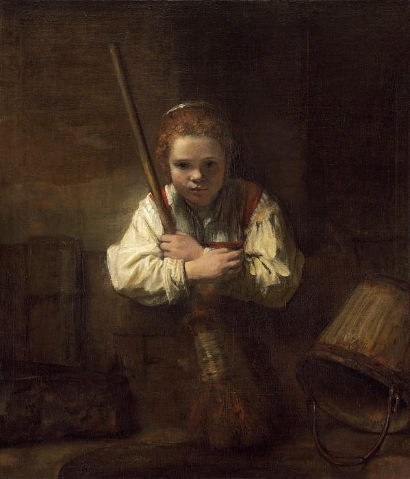 Rembrandt Workshop (Possibly Carel Fabritius) - A Girl with a Broom. National Gallery of Art (Washington)