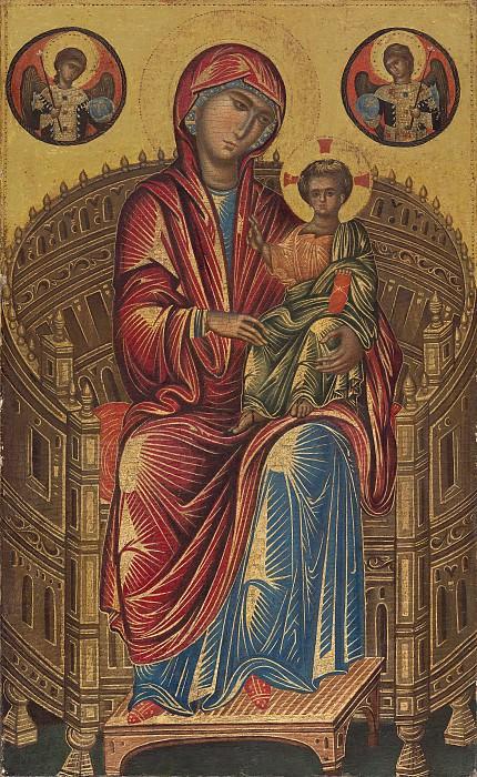 Византийский художник, 13 век - Мадонна с младенцем на изогнутом троне. Национальная галерея искусств (Вашингтон)