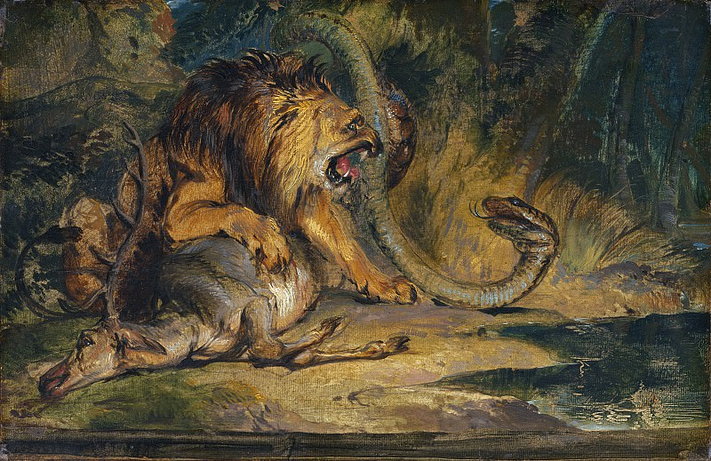 Sir Edwin Landseer - Lion Defending its Prey. National Gallery of Art (Washington)