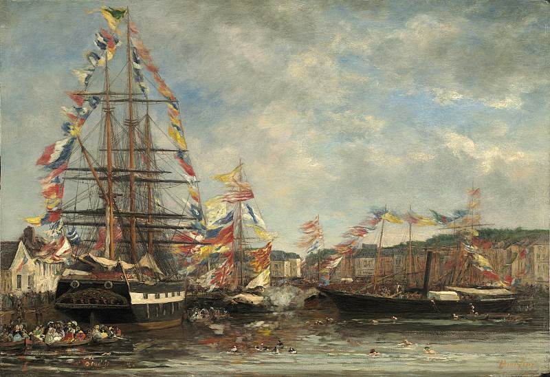 Eugene Boudin - Festival in the Harbor of Honfleur. National Gallery of Art (Washington)