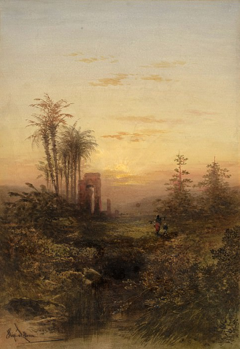 Gabriel Hippolyte Lebas - Sunset in an Oriental Landscape. National Gallery of Art (Washington)