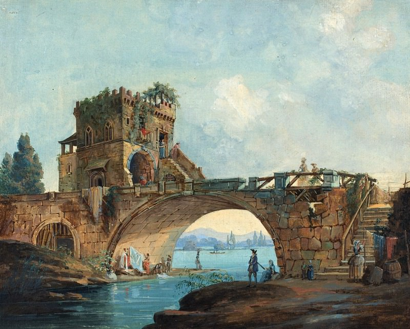French 18th Century after Hubert Robert - The Ponte Salario with Laundresses. National Gallery of Art (Washington)