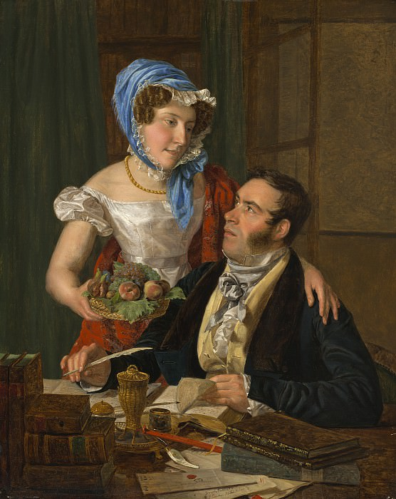 Ferdinand Georg Waldmuller - The Cartographer Professor Josef Juttner and His Wife. National Gallery of Art (Washington)