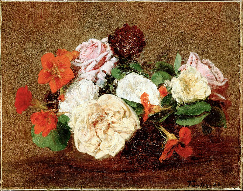 Fantin-Latour, Henri - Roses and Nasturtiums in a Vase. Hermitage ~ part 14 (Hi Resolution images)